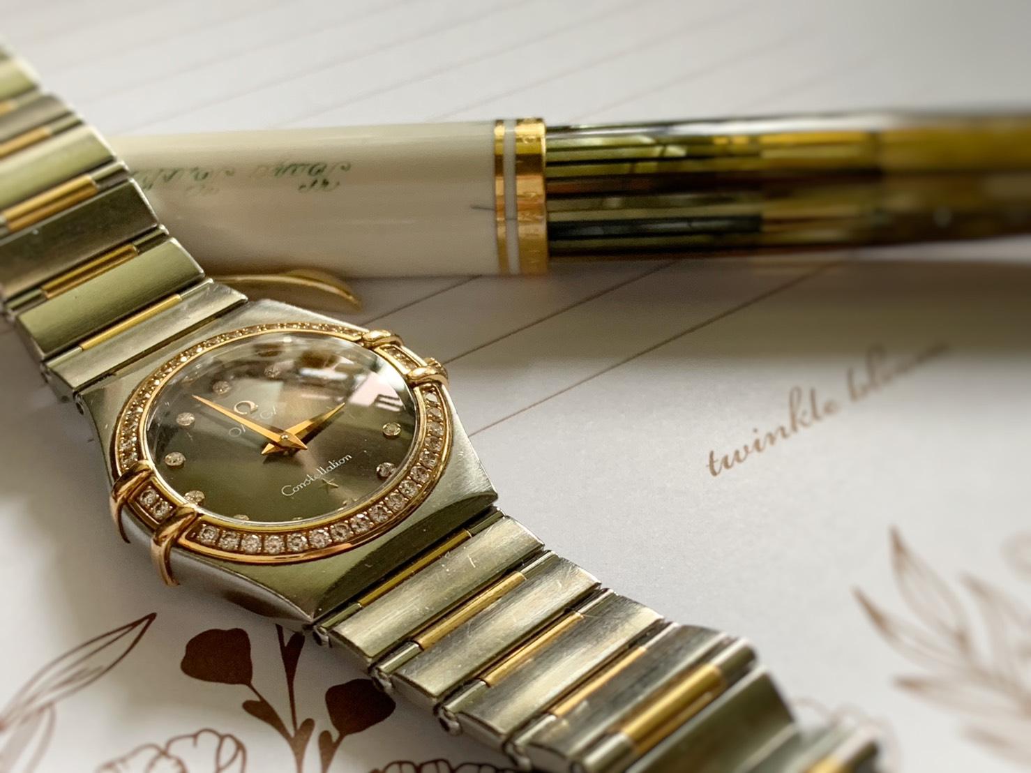 オメガの腕時計とペリカンの万年筆